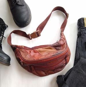 Vintage Brown patchwork leather fanny pack bag